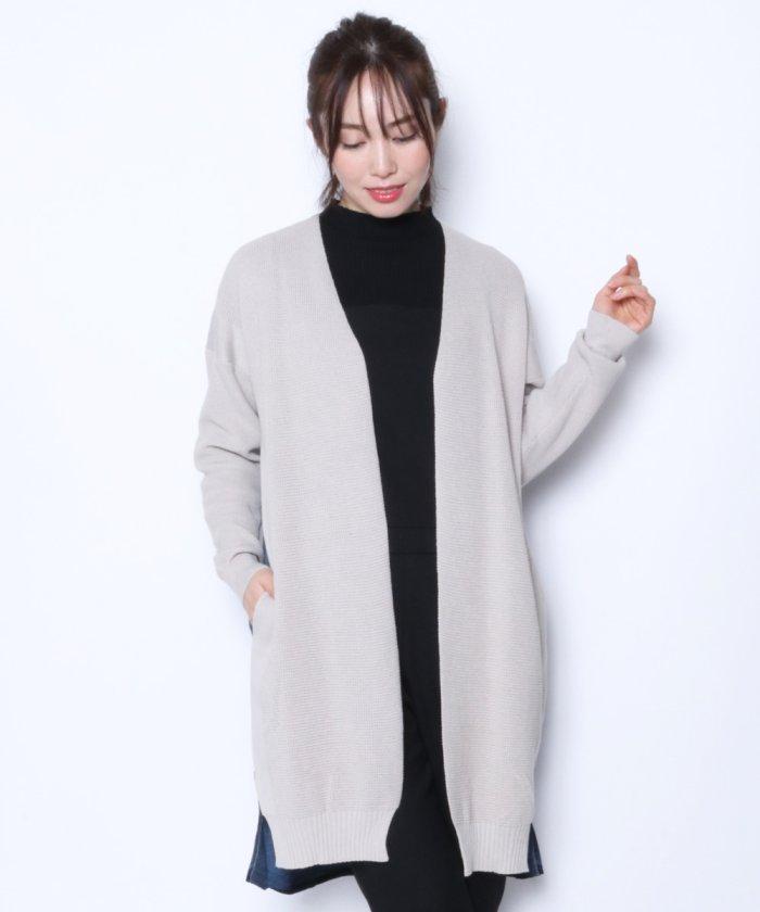 ★【メトリーゼ MAITRESSE】ニットデニム切替 カーディガン