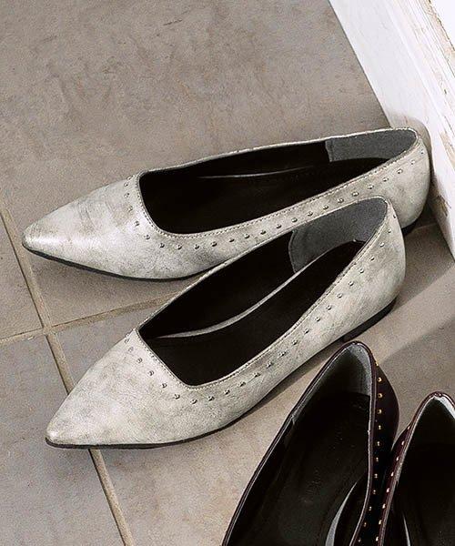 Pierrot(ピエロ)/スタッズデザイン フラットシューズ☆ スクエアカット ポインテッドトゥ スタッズ フラットシューズ 靴 ローヒール 上品 スムース SM L LL Pierro/g1805-043320