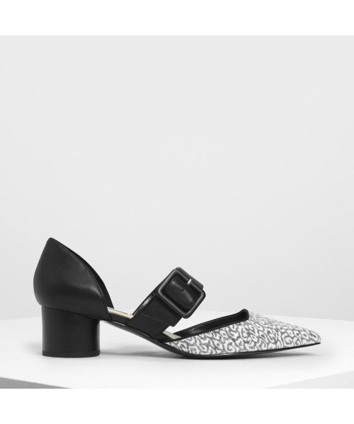 CHARLES & KEITH(チャールズ アンド キース)/グリッターバックルディテール メリージェーン / Glittered Buckle Detail Mary Janes (Black)/CH1328BW11706