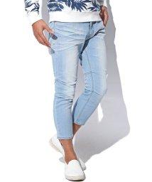 LUXSTYLE/ペンキ付き膝タックストレッチクロップドデニムパンツ/デニム パンツ メンズ クロップドパンツ アンクルパンツ/501623631