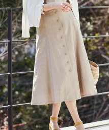 NIJYUSANKU/【洗える】リネンスラブストレッチ フレアスカート/501891122