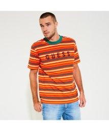 GUESS/ゲス GUESS GUESS x J BALVIN OVERSIZED STRIPED LOGO TEE (Tour Stripe Vibras Orange)/501895849