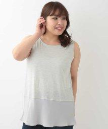 eur3/【大きいサイズ】裾シフォンレイヤードタンクトップ/501896584