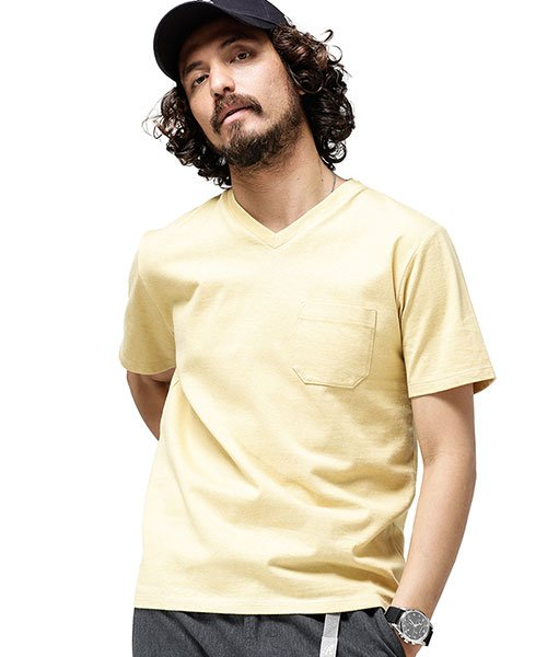 nano・universe(ナノ・ユニバース)/Anti Soaked ヘビーVネックTシャツ/6689124008