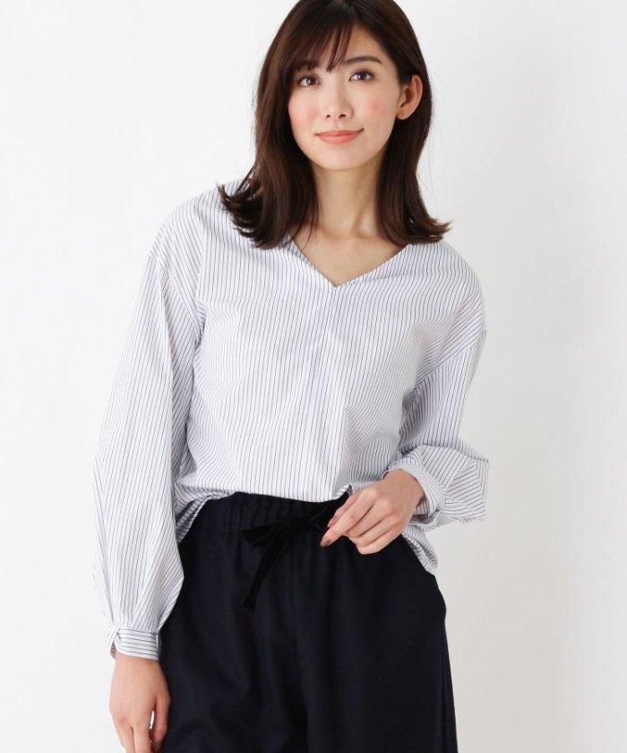 【洗える】ブロードストライプ  Vネックシャツ