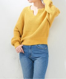 NICE CLAUP OUTLET/【natural couture】ぷくぷくキーネックニット/501716584