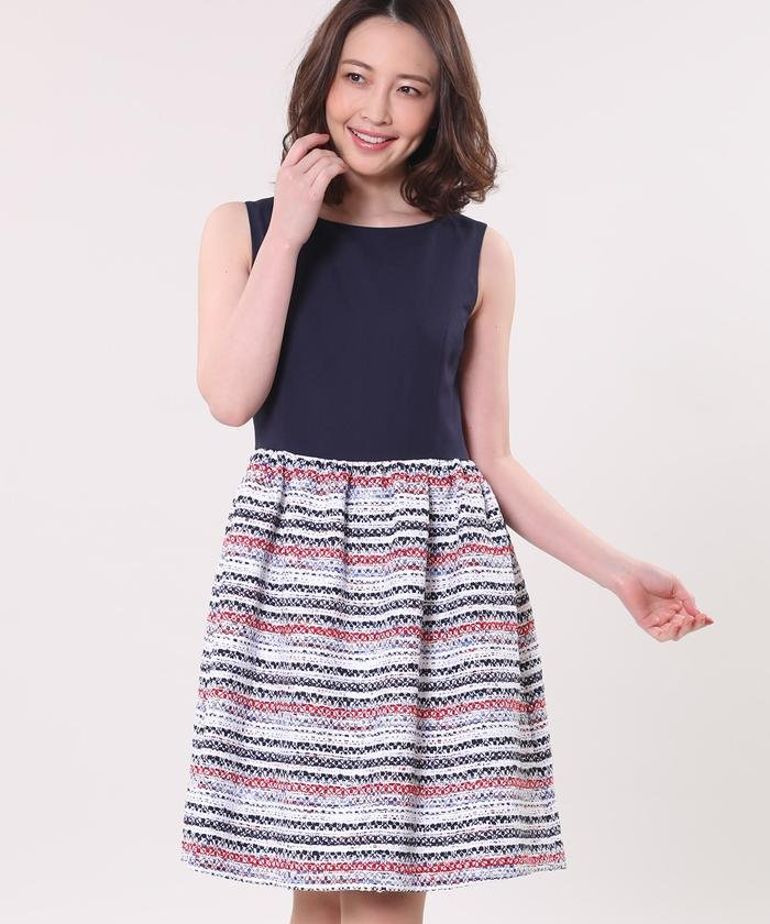 《Maglie collection》ツイード切り替えワンピース
