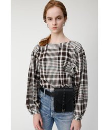 moussy/CHECK PUFF SLEEVE ブラウス/501900386