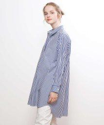 collex/ストライプ/デニムチュニックシャツ/501552353