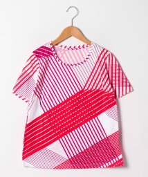 GUEST JOCONDE/【大きいサイズ/洗える】マルチストライププリントコットン天竺Tシャツ/501888481