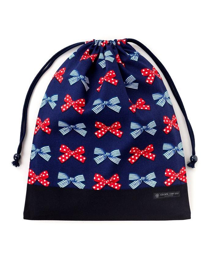 巾着 大 体操服袋(ネームタグ付き) ポルカドットとストライプのフレンチリボン(ネイビー)×オックス・紺