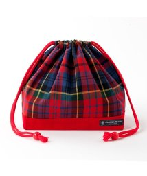 COLORFUL CANDY STYLE/巾着 中 マチ有りお弁当袋 タータンチェック・レッド × オックス・赤/501901193