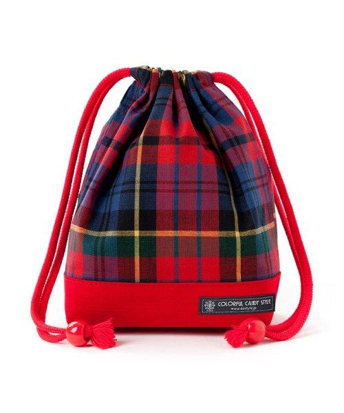 COLORFUL CANDY STYLE(カラフルキャンディスタイル)/巾着 小 コップ袋 タータンチェック・レッド×先染・赤/N3581700