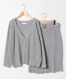 GeeRa/ニットカーデ&ベルト付スカートセットアップ/501378497