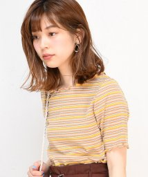 NICE CLAUP OUTLET/【natural couture】マルチボーダーメローテレコTシャツ/501894592