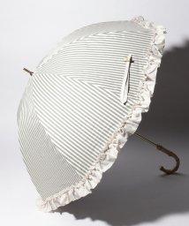 pink trick/完全遮光 晴雨兼用 長傘 フリルストライプ 遮光率100% 遮蔽率100% 1級遮光 遮熱 軽量 UVカット/501896952