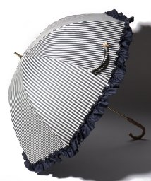 pink trick/完全遮光 晴雨兼用 長傘 フリルストライプ 遮光率100% 遮蔽率100% 1級遮光 遮熱 軽量 UVカット/501896953