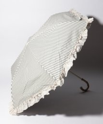 pink trick/完全遮光 晴雨兼用 折りたたみ傘 フリルストライプ 遮光率100% 遮蔽率100% 1級遮光 遮熱 軽量 UVカット/501896961