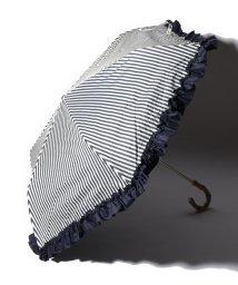 pink trick/完全遮光 晴雨兼用 折りたたみ傘 フリルストライプ 遮光率100% 遮蔽率100% 1級遮光 遮熱 軽量 UVカット/501896962