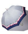 pink trick/BE SUNNY ビーサニー 深張ジャンプ傘 長傘 チェリーボーダー  (晴雨兼用 UVカット 紫外線カット 耐風 軽量 撥水)/501896963