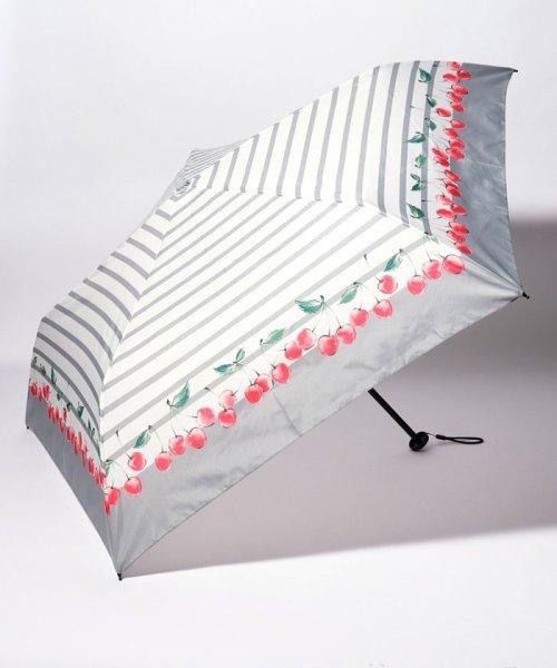 pink trick(ピンクトリック)/BE SUNNY ビーサニー スリム3段折りたたみ傘 チェリーボーダー ポーチ付  (晴雨兼用 UVカット 紫外線カット 耐風 軽量 撥水)/87389