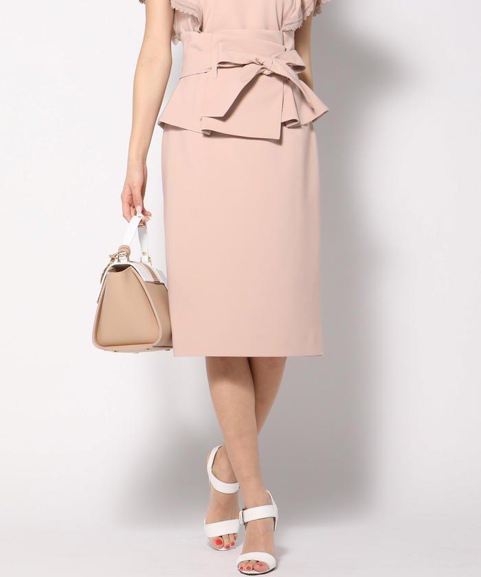 【セットアップ対象】【3Way】ペプラムベルト付きタイトスカート