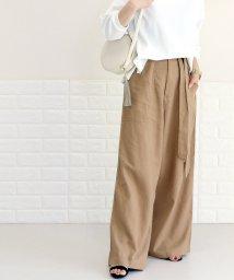 FUNNY COMPANY+/共布リボン付麻レーヨンワイドパンツ/501902037