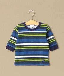 green label relaxing (Kids)/カラーボーダーワッフル 7スリーブTシャツ/501706425