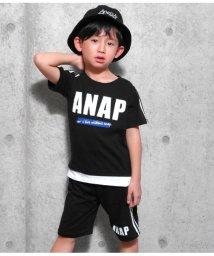 ANAP KIDS/切り替え風ラインTシャツ+ラインハーフパンツSET/501880658