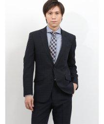 TAKA-Q/ストレッチ洗えるスラックス チェック黒 2ピーススーツ スリムフィット/501905256