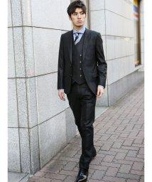 m.f.editorial/ストレッチ光沢シャドーストライプ柄黒 3ピース スリムスーツ/501905267
