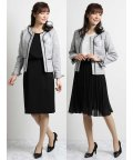 m.f.editorial/ツイード3ピーススーツ(ノーカラージャケット+ジョーゼットプリーツスカート+半袖ワンピース)白黒/501905746