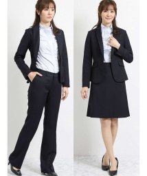 TAKA-Q/ストレッチウォッシャブル3ピーススーツ(1釦ジャケット+ストレートパンツ+マーメイドスカート)紺ストライプ/501905747