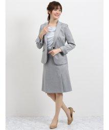 TAKA-Q/ストレッチポンチ2ピ-ススーツ(1釦テーラードジャケット+フレアスカート)グレー/501905752