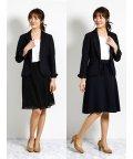 m.f.editorial/ツイード3ピーススーツ(1釦ジャケット+フレアースカート+プリーツスカート)紺/501905753