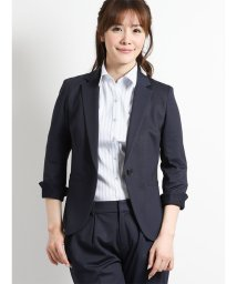 m.f.editorial/ストレッチポンチ セットアップ1釦7分袖ジャケット 紺カルゼ/501905782