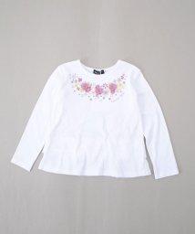 BeBe/シフォン+プリント花モチーフ長袖Tシャツ/501908795