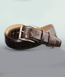 DERADERA/プレディビーノ predibino イタリア製 クロコ型押し レザーベルト ダークブラウン 35mm カット可能モデル/501928152