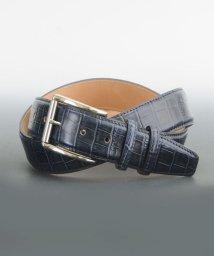 DERADERA/プレディビーノ predibino イタリア製 クロコ型押し レザーベルト ネイビー 35mm カット可能モデル/501928153