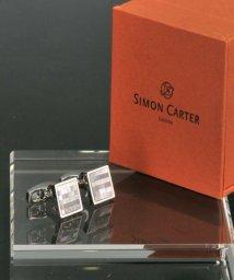 DERADERA/サイモンカーター  simon carter スクエアデザイン モザイク ブルー カフリンクス カフス/501928177