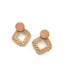 marjour/SQUARE RATTAN PIERCE & EARRING/501931577