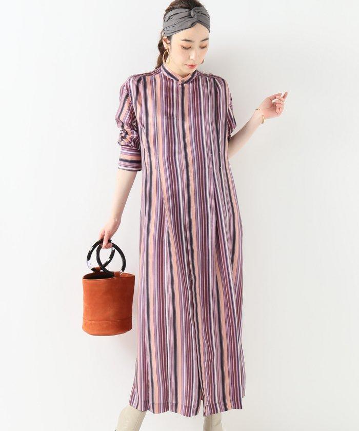 【JANE SMITH/ジェーンスミス】MULTI−STRIPEロングシャツワンピース