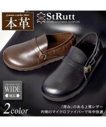 StRutt/オブリークトゥ 本革 レザー スリッポン シューズ/501901587