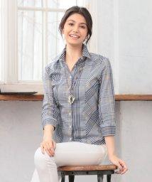 NARA CAMICIE/イタリアンチェック切替七分袖シャツ/501914720