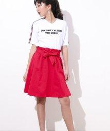 ZIDDY/【ニコプチ掲載】リボン付きヒザ丈ツイルスカート/501909585