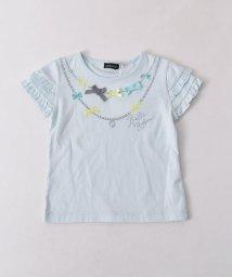 BeBe/リボン付ネックレスプリントTシャツ/501926526