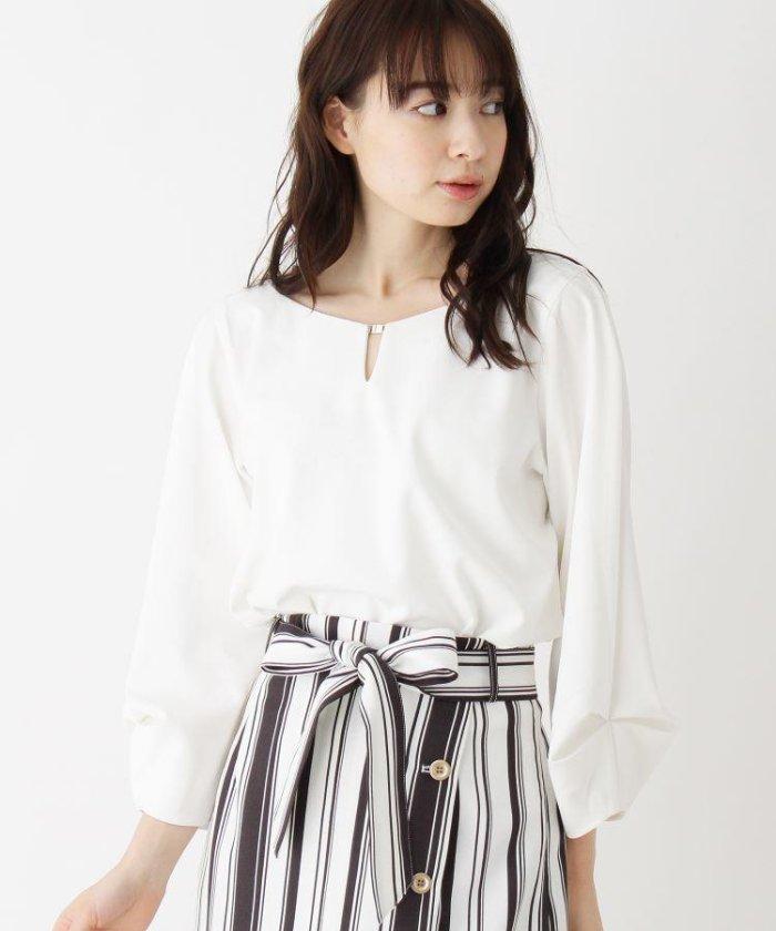 【洗える】ボリュームタック袖フロントバーシャツ