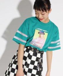 PINK-latte/転写袖すけライン Tシャツ/501946326