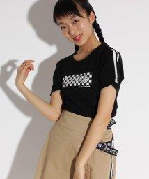 PINK-latte/袖ラインチェッカーロゴ Tシャツ/501946332