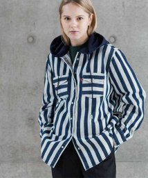 LEVI'S LADY/HOODED WOVEN SHIRT NAVY AND WHITE BOLD/501933565